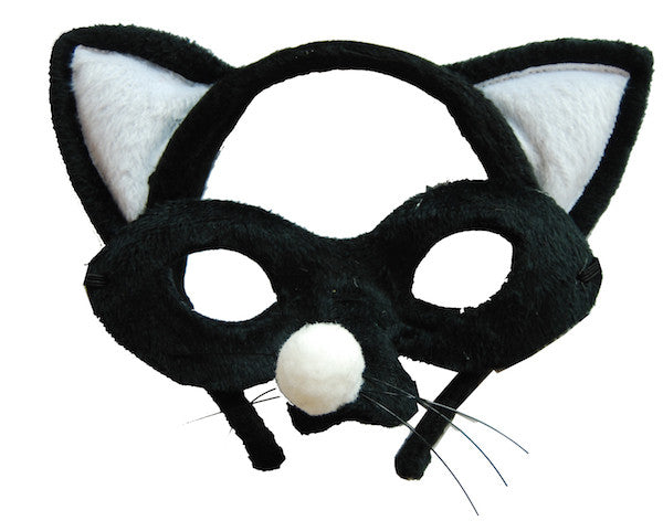Animal Headband & Mask Set - Cat Blk/Wht