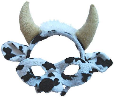 Animal Headband & Mask Set - Cow Blk/Wht