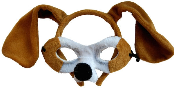 Animal Headband & Mask Set - Dog Brn/Wht