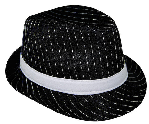Pinstripe Gangster Hat - Black