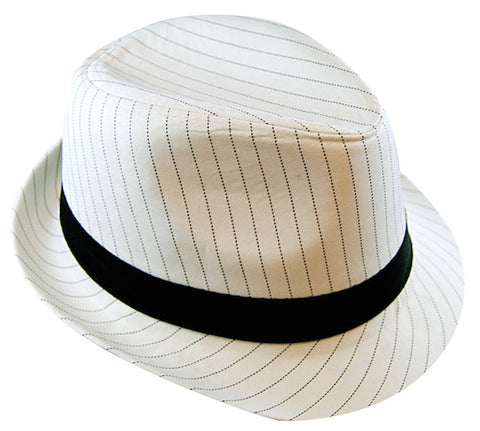 Pinstripe Gangster Hat - White