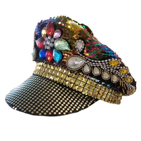 RAINBOW SEQUIN MILITARY FESTIVAL HAT, ADULT