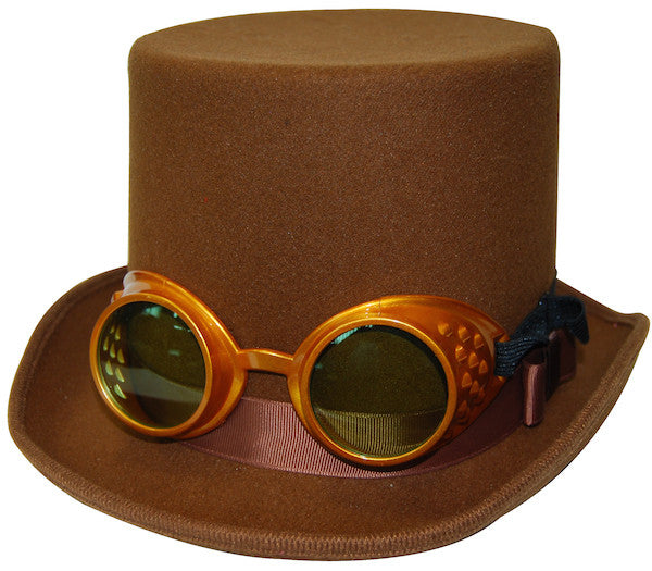 Steampunk Top Hat w/Gold Goggles