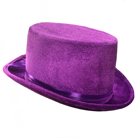 Velvet Top Hat, Purple - Adult Size