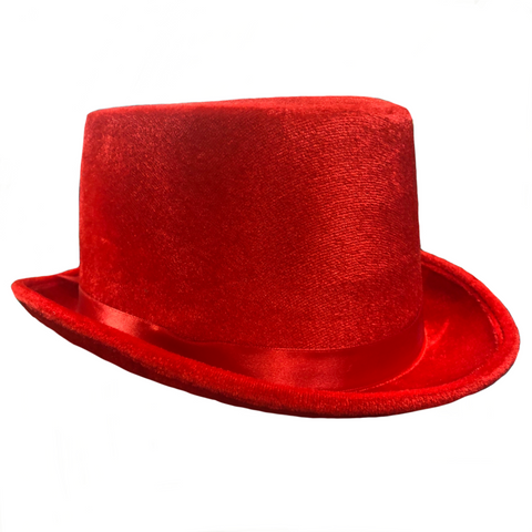 Velvet Top Hat, Red - Adult Size