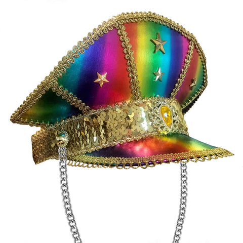 Gold and Rainbow Jewelled Festival Hat