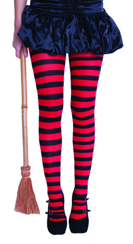 Stripy Tights Adult - Red/Black