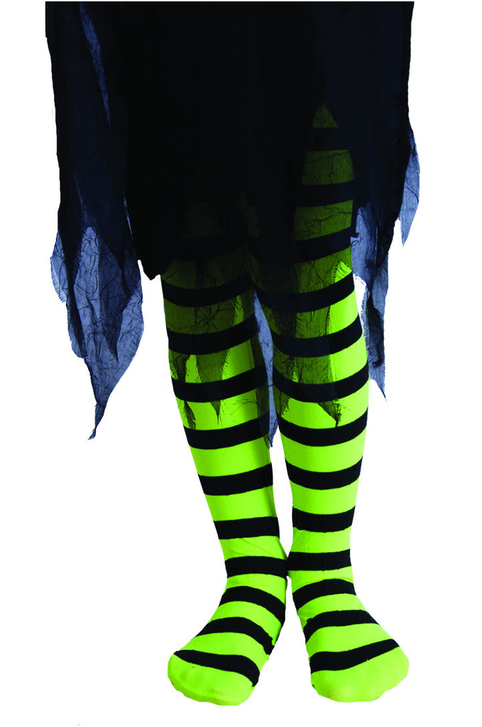 Stripy Tights Child - Green/Black