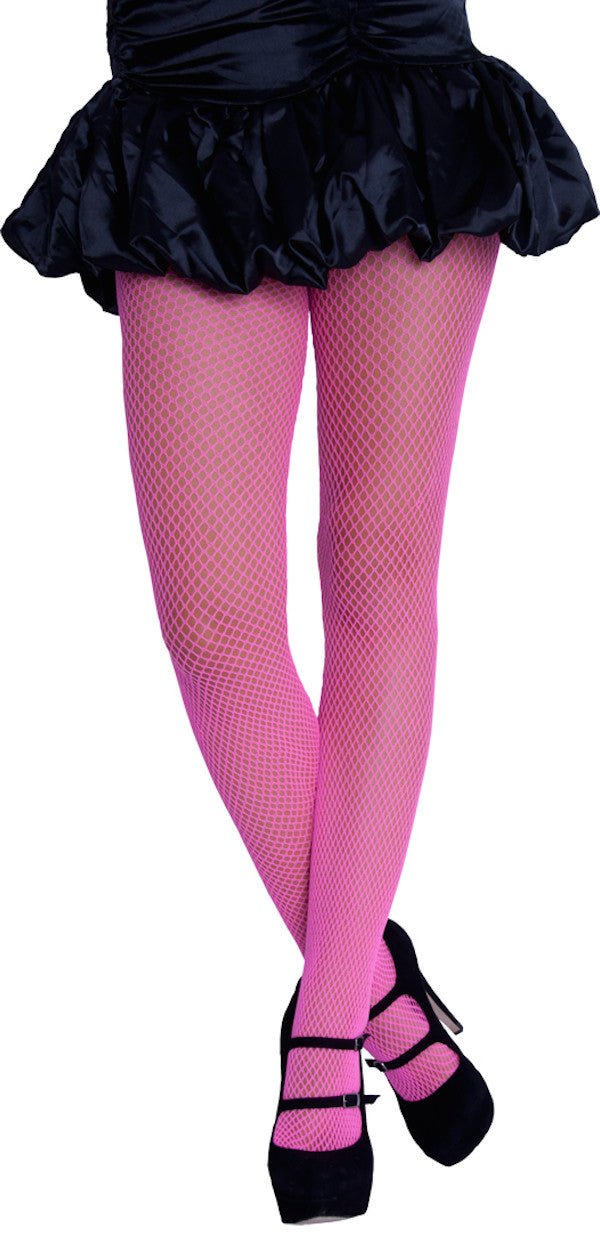 Neon Fishnet Tights - Pink