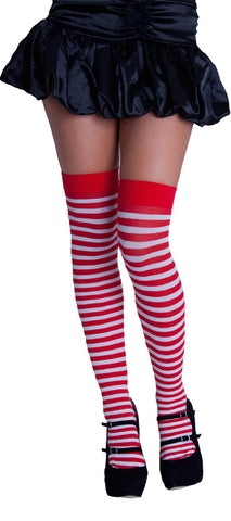 Knee High Stripy Sox - Red & White