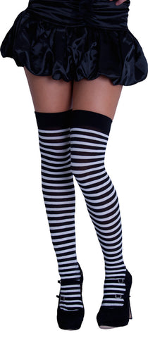 Knee High Stripy Sox - Black & White