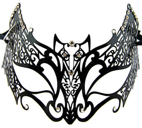 Metal Masquerade Mask - Black Bat