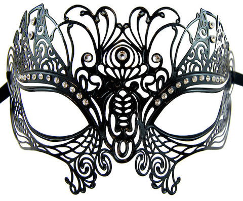 Metal Masquerade Mask - Black Peacock
