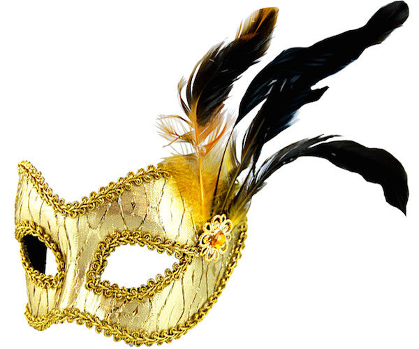 Masquerade Mask - Gold w/Side Feathers
