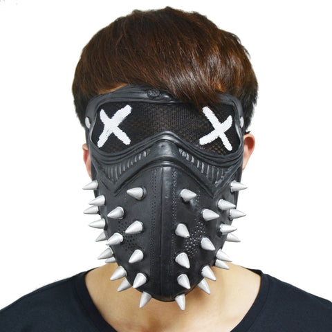 BLACK LATEX SPIKEY SLIPKNOT STYLE MASK, ADULT