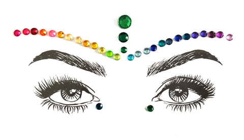 FESTIVAL FACE JEWELS RAINBOW COLOURED, ADULT