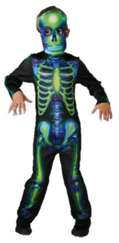 NEON SKELETON COSTUME, CHILD - SIZE S, M AND L