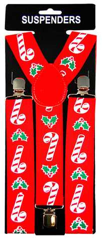 Stretch Braces/Suspenders - Candy Canes