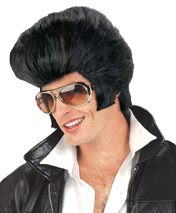 Oversize Rock n Roll Elvis Wig - Black