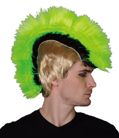 Punk Mohawk Wig - Green/Black/Blonde