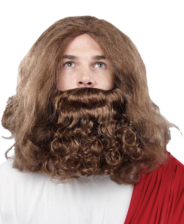 Biblical Jesus Wig & Beard - Brown