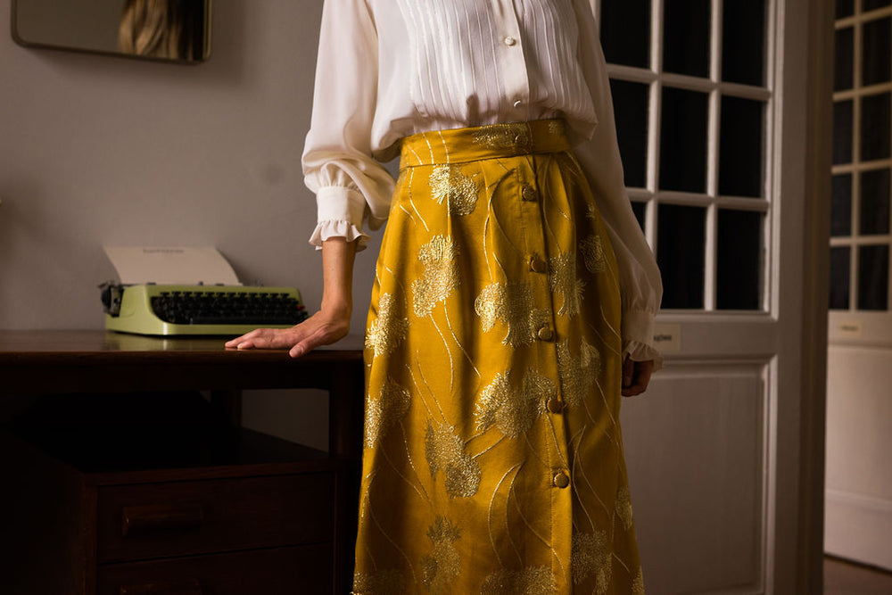 India Skirt in Silk Lux Flowers