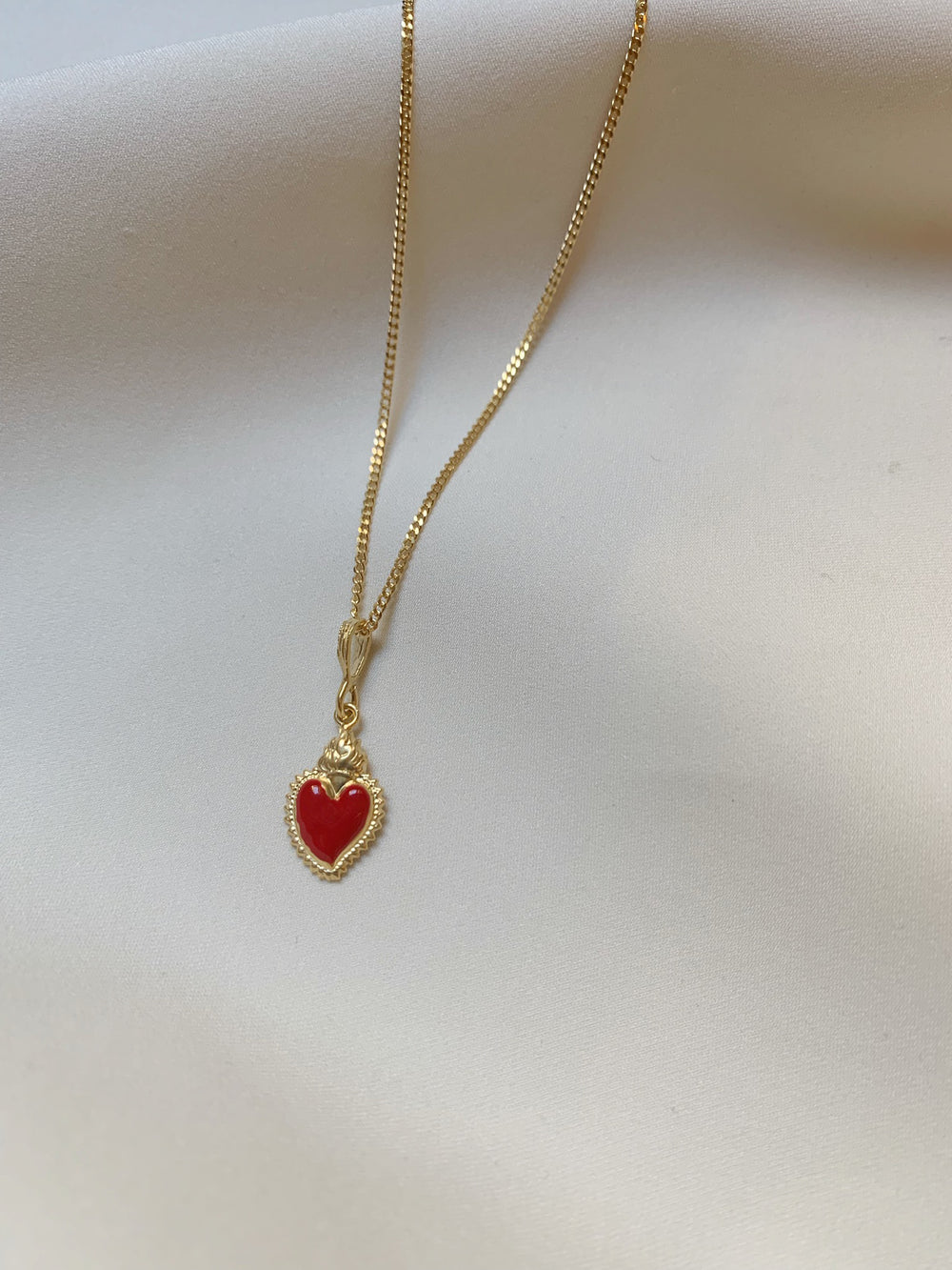 Red Enameled Sacred Heart Necklace
