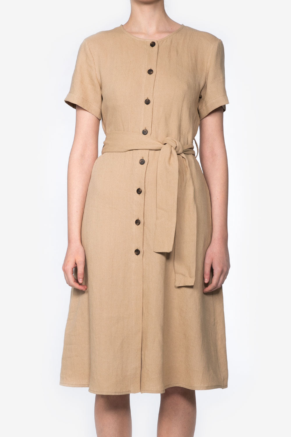 Safari Dress in Sand Linen
