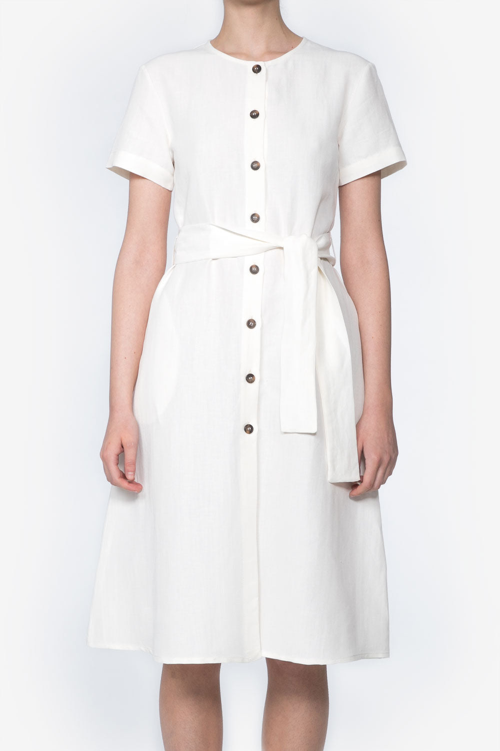 Safari Dress in White Linen