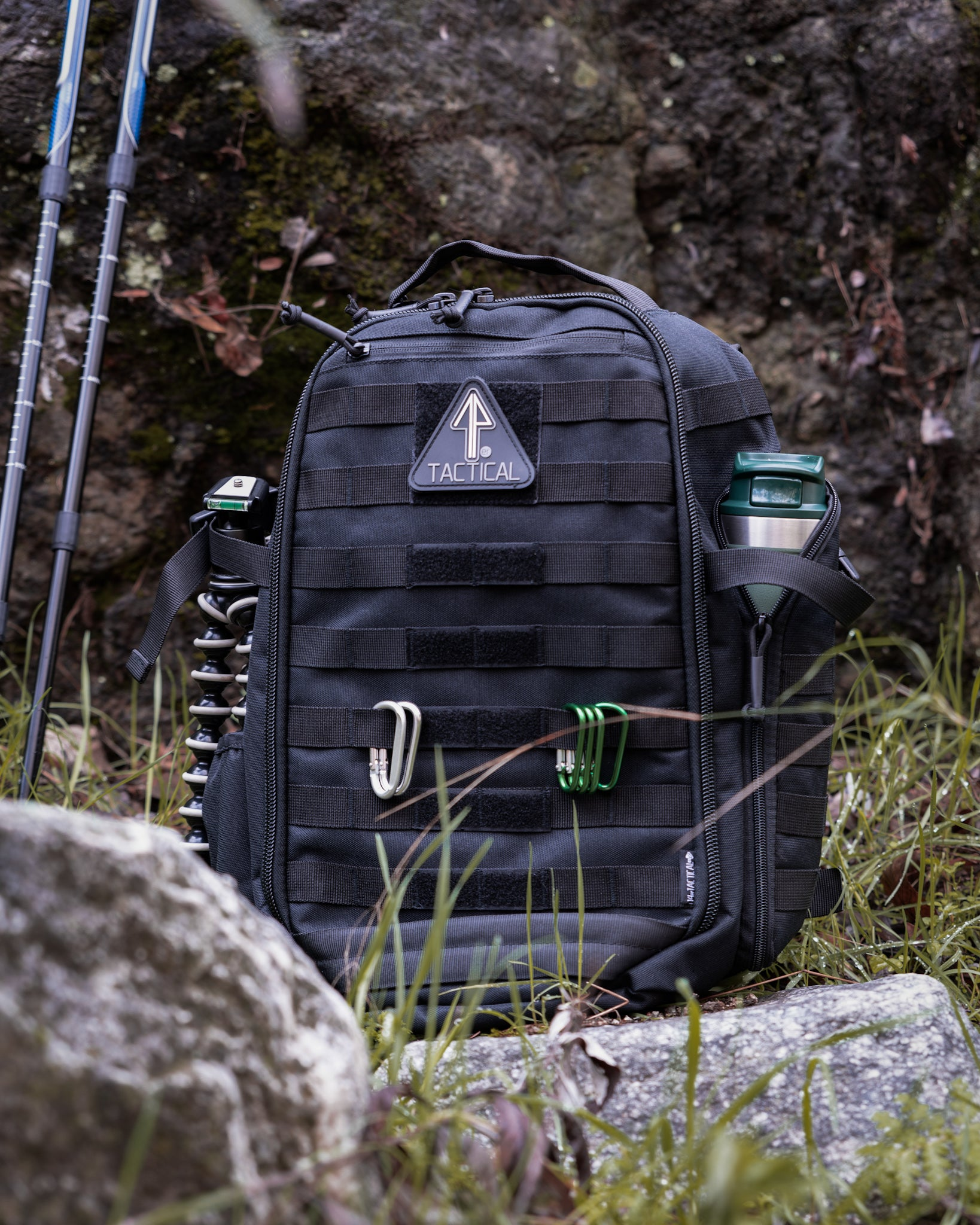 A 14er Tactical Black Backpack is displayed used as a bug out bag.