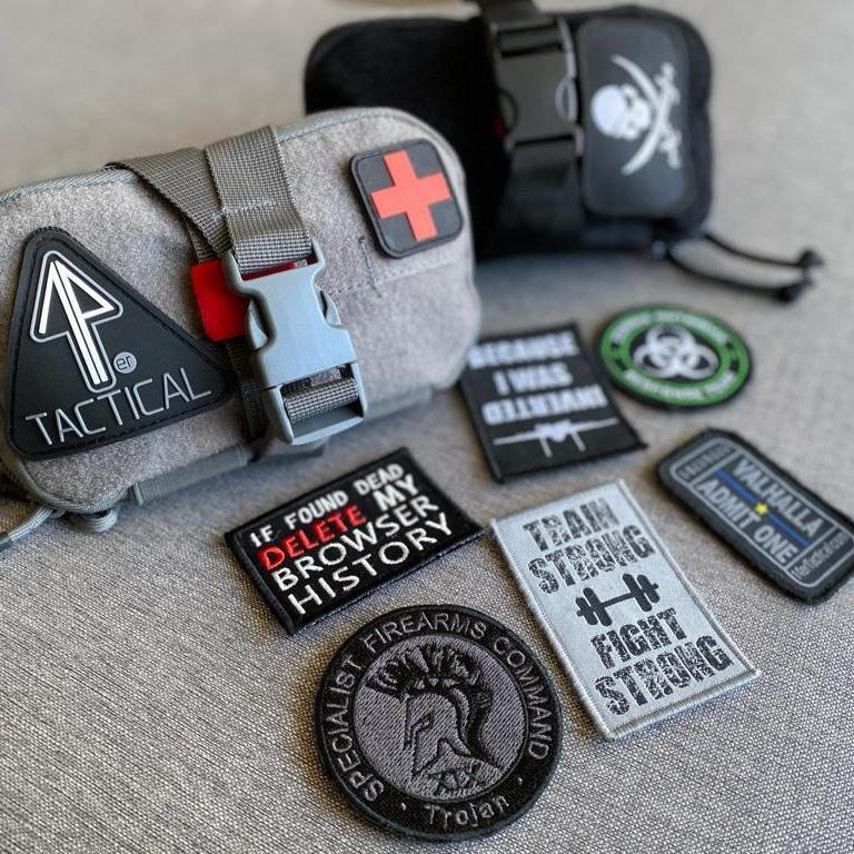 Morale Patches are decorated on and around the 14er IFAK Pouch.