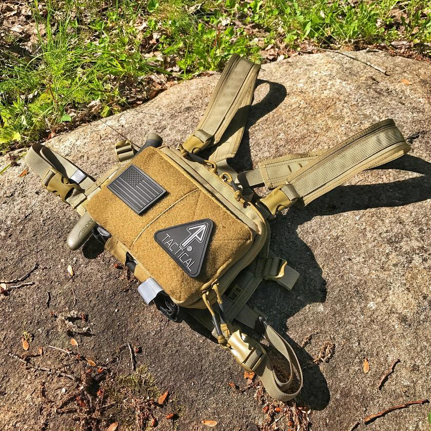 A 14er Tactical Admin Pouch outdoors, ready to be carried across the chest.
