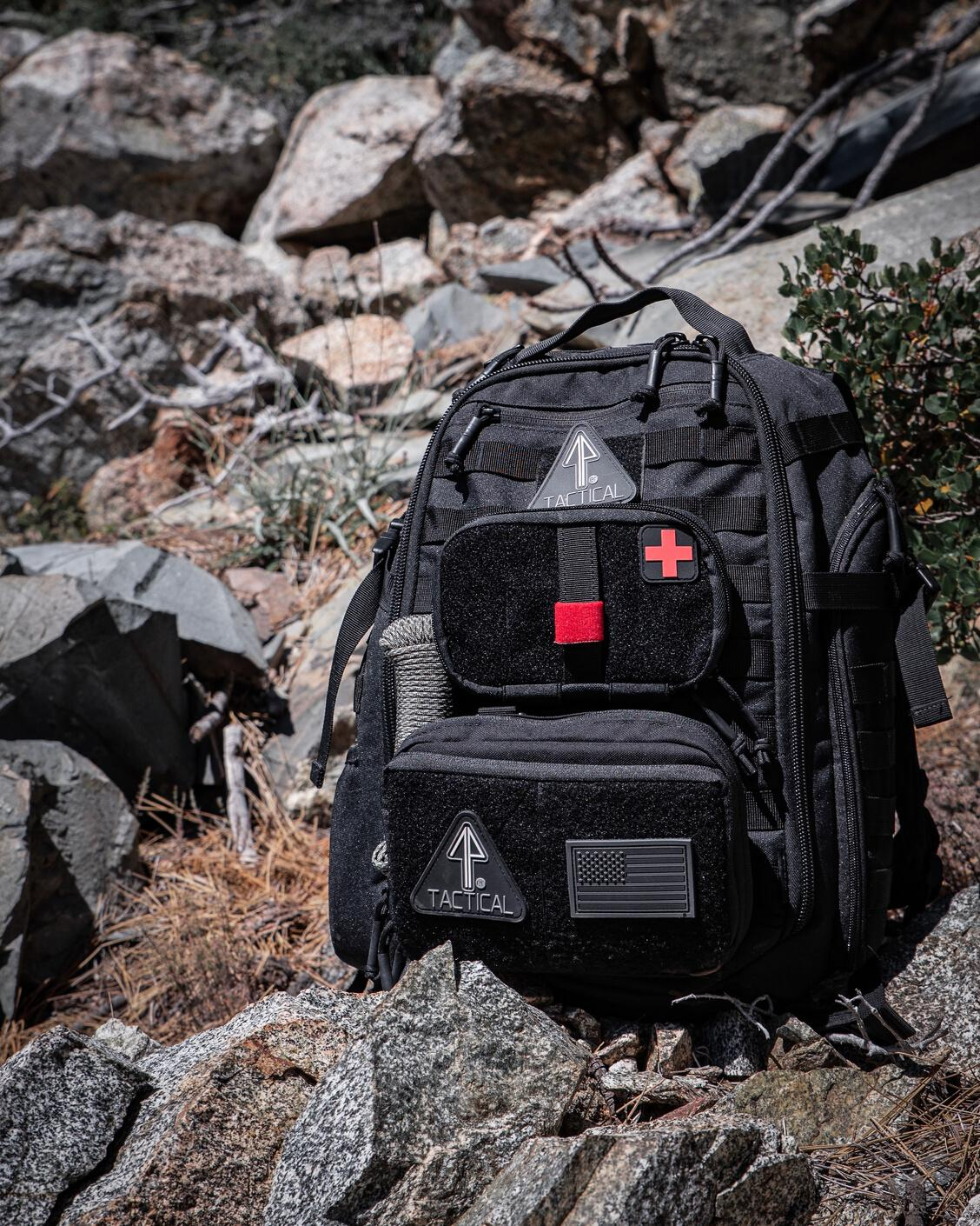 A 14er MOLLE Tactical Backpack decked with the Admin Pouch and IFAK for everyday carry.