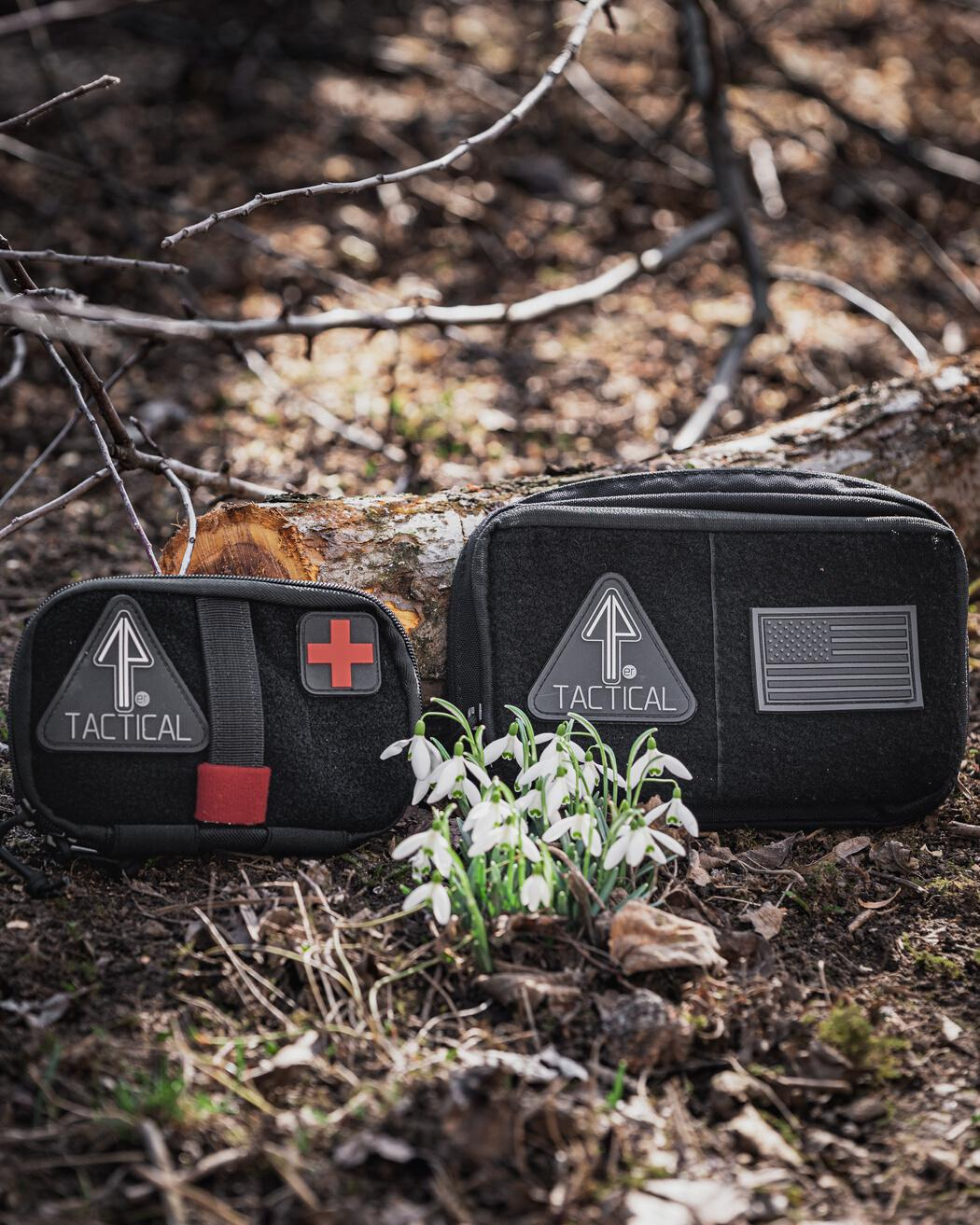 Tactical gear is inside the 14er IFAK and Admin Pouch for camping.