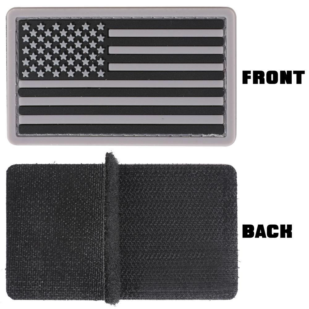 The front and back sides of a Velcro Morale Patch of the United States flag.