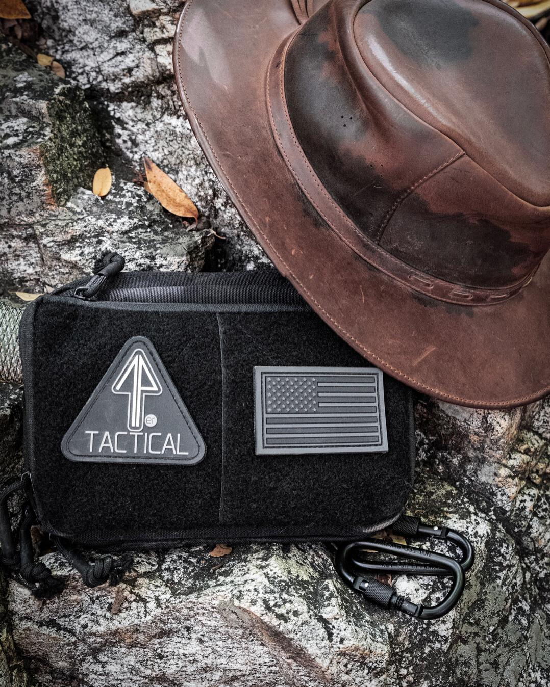 14er Tactical Admin Pouch used for everyday carry, posed with a ranger's hat.
