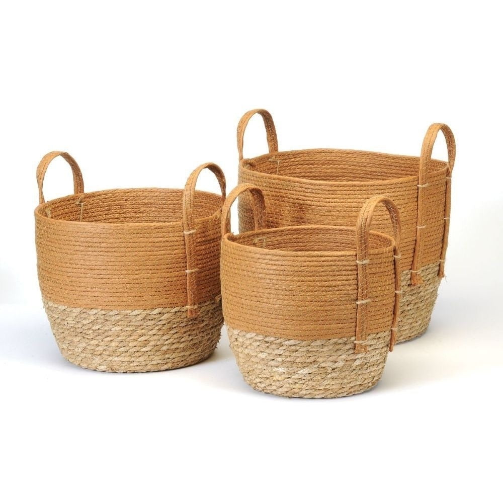 RUST/NATURAL STRAW BASKET
