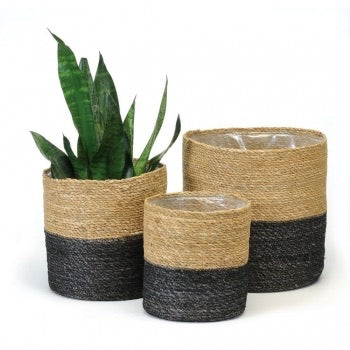 BLACK/NATURAL PLANT BASKET