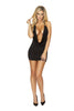 Mini Dress 1pc Cowl Neck Black