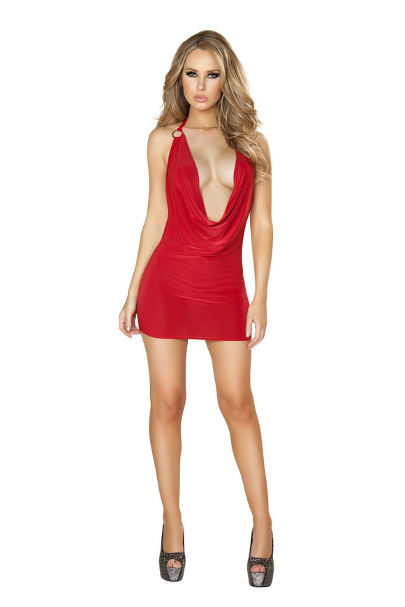 Mini Dress 1pc Cowl Neck Red