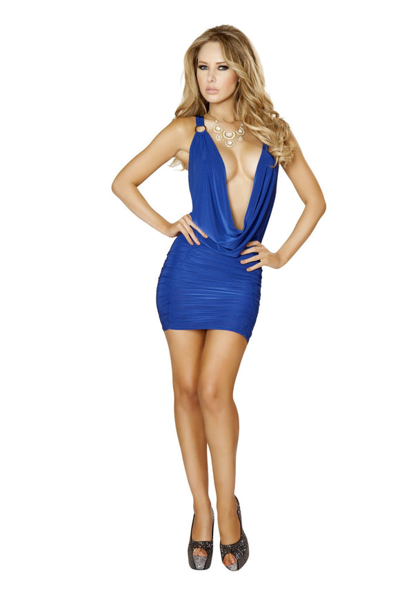 Mini Dress 1pc Cowl Neck Royal Blue