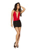 Mini Dress 1pc Two-Tone Low Cowl Neck Black and Red