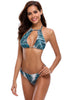 Palm Leaf Print Front Cutout Halter Bathing Suit