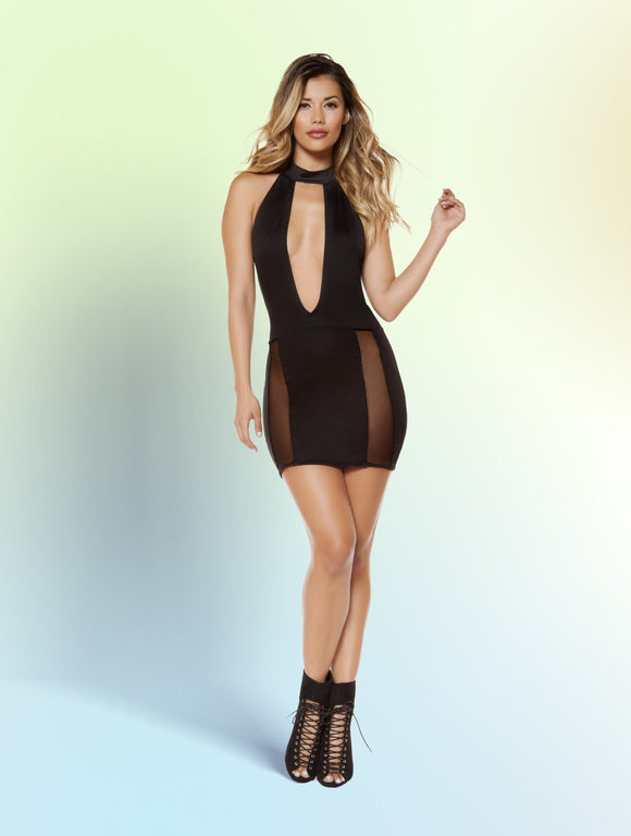 Mini Dress Cutout with Sheer Mesh Slit