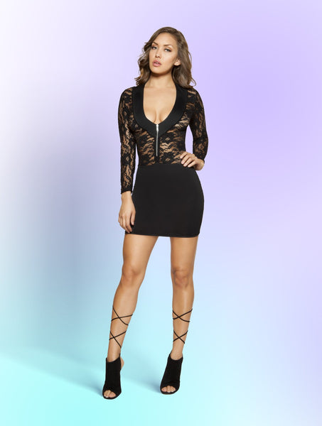 Mini Dress Long Sleeved Lace Dress with Zipper Closure