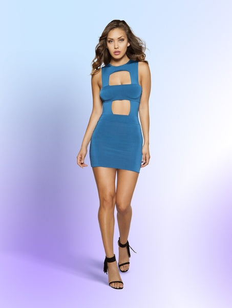 Mini Dress Partially Lined Mini Dress with Square Cutout Pieces