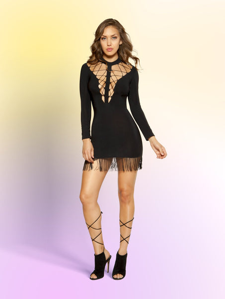 Mini Dress Double Strappy Lace-up with Hanging Fringe Detail