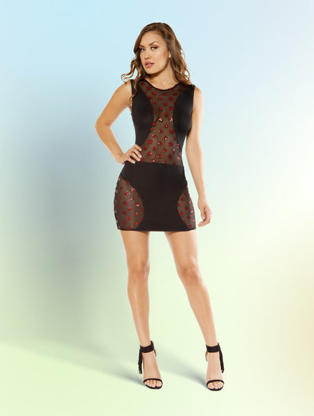 Mini Dress Swerve with Star Shaped Glitter Sheer Mesh Panels