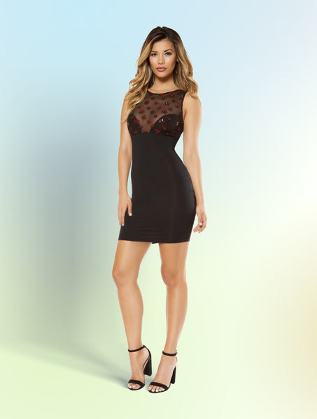 Mini Dress with Star Shaped Glitter Sheer Mesh Top