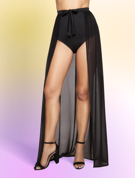 Skirt Open Front Sheer Tie Wrap